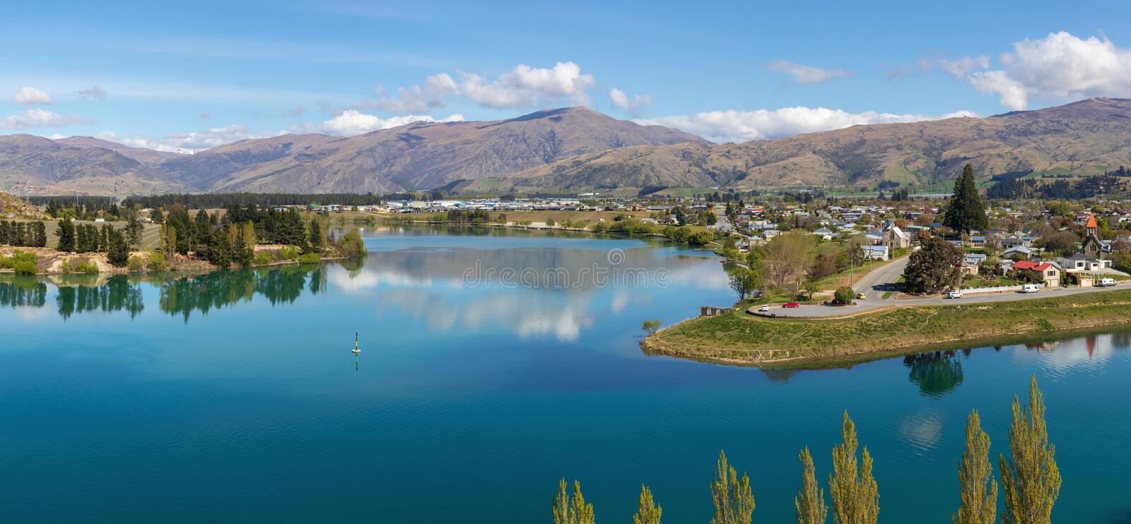 Cromwell and Kawarau river aerial view, New Zealand. Cromwell and Kawarau river  aerial view, Otago, New Zealand royalty free stock image
