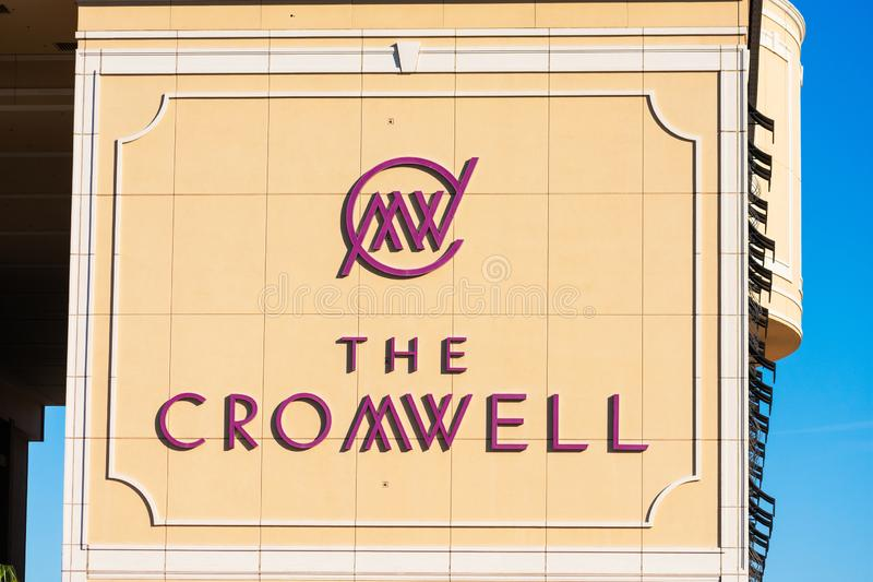 The Cromwell sign on luxury boutique hotel and casino on the Las Vegas Strip. Las Vegas, Nevada, USA - December, 2019 royalty free stock photos