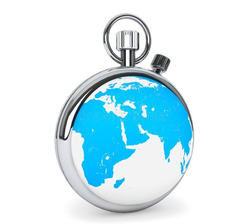 Cronómetro como globo de la tierra ilustración del vector