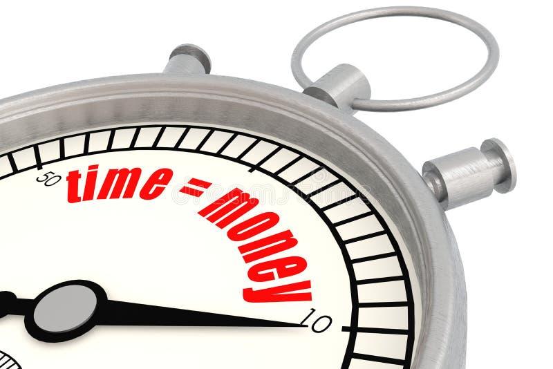 Cronómetro con el tiempo igual a la palabra del dinero ilustración del vector