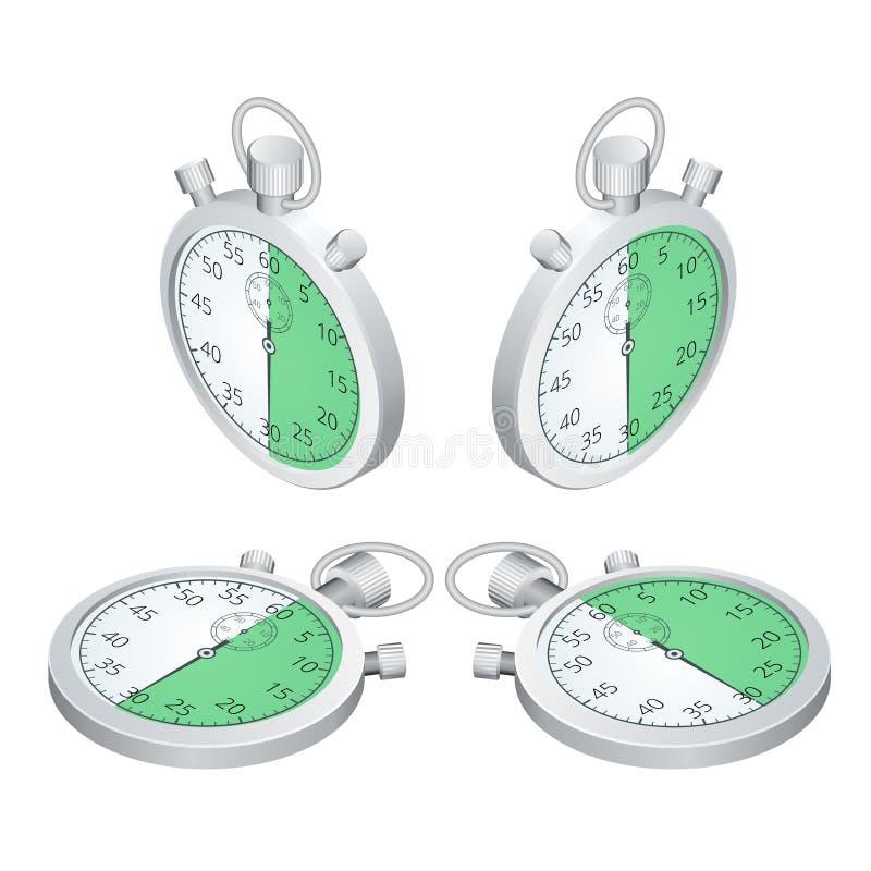 Cronómetro Conjunto de temporizadores Hora de trabajar El tiempo se está ejecutando hacia fuera Reloj, cronómetro que se eleva pa ilustración del vector