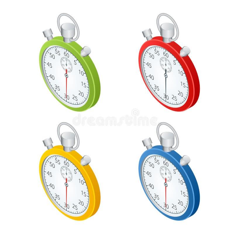 Cronómetro Conjunto de temporizadores Hora de trabajar El tiempo se está ejecutando hacia fuera Reloj, cronómetro que se eleva pa stock de ilustración