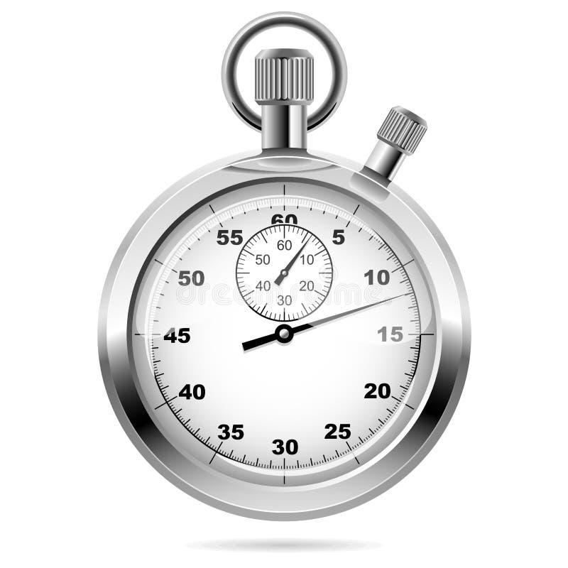 Cronómetro cromado mecánico stock de ilustración