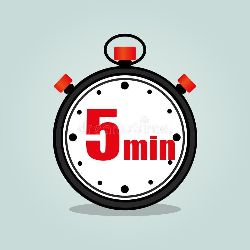 Cronómetro de cinco minutos stock de ilustración