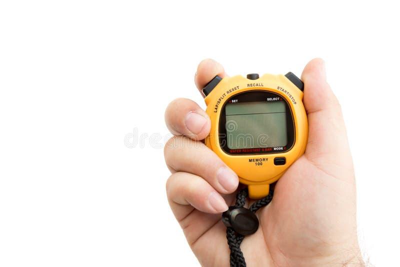 Cronómetro de la tenencia del hombre para medir el tiempo del intervalo para la competencia libre illustration
