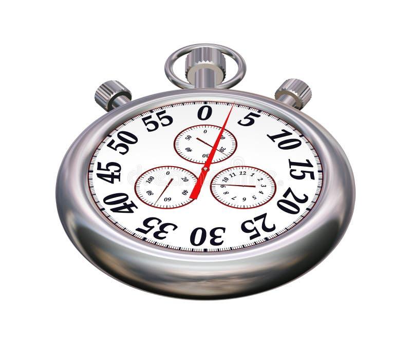 Cronómetro del deporte del cromo en blanco fotografía de archivo