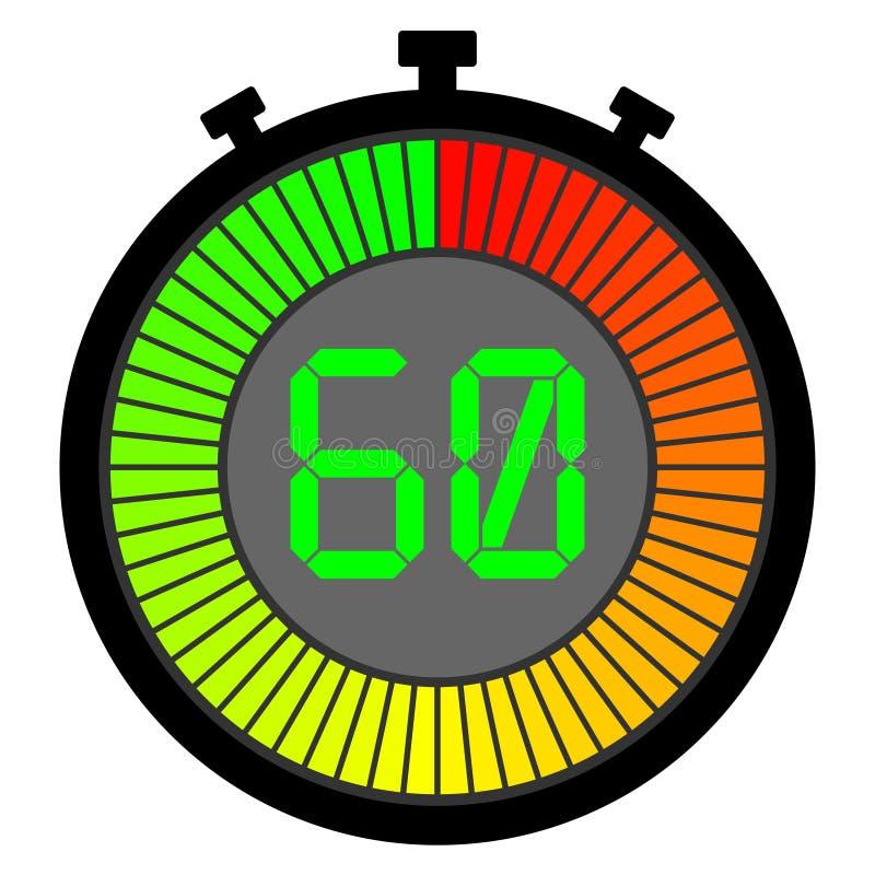 cronómetro electrónico con un dial de la pendiente que comienza con rojo 60 stock de ilustración
