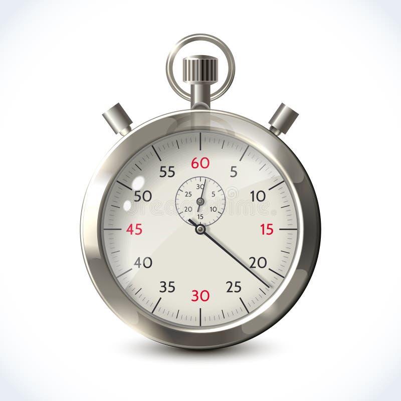 Cronómetro metálico realista stock de ilustración