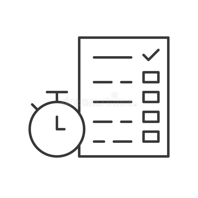 Cronómetro y documento con la lista de control o el examen, manag del tiempo libre illustration