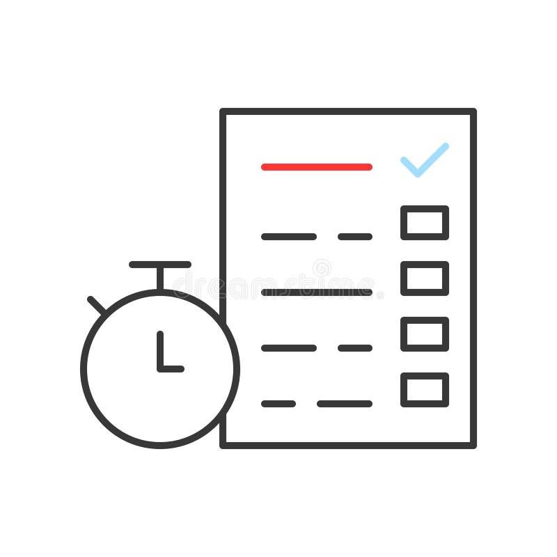 Cronómetro y documento con la lista de control o el examen, manag del tiempo ilustración del vector