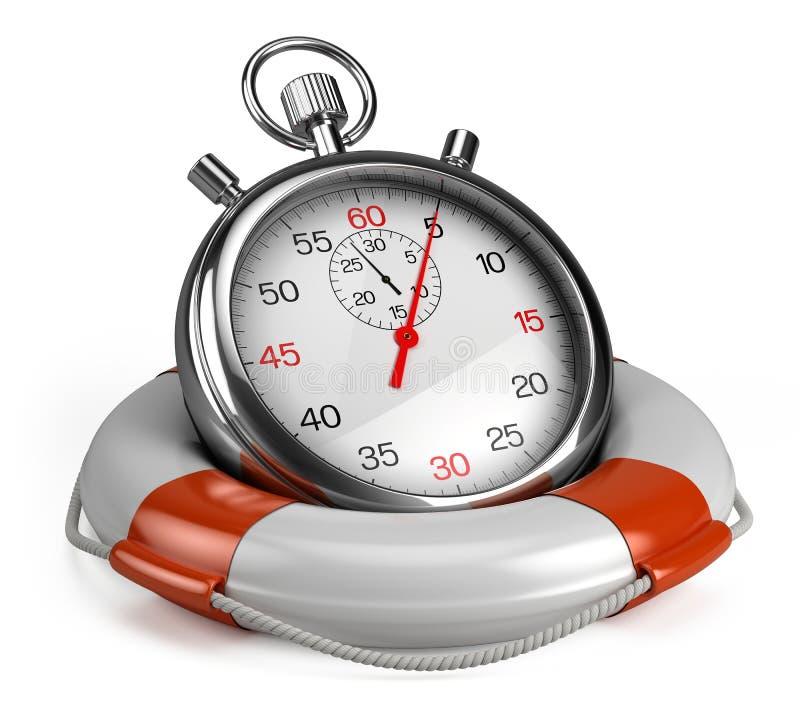 Cronómetro y salvavidas stock de ilustración