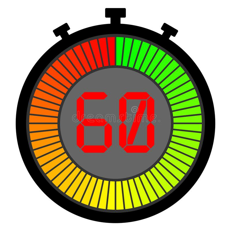 cronômetro eletrônico com um inclinação 60 ilustração royalty free