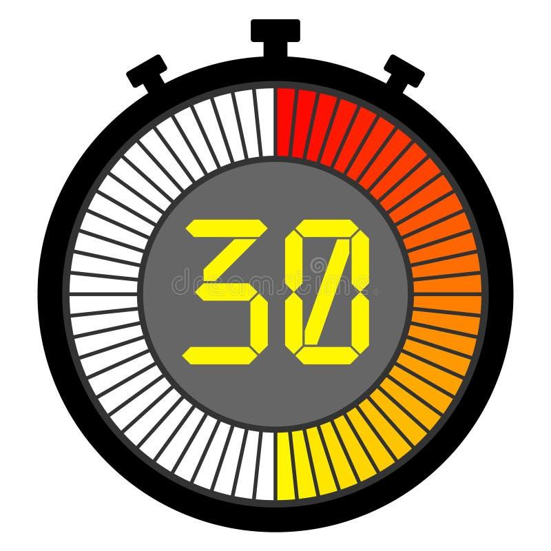 cronômetro eletrônico com um seletor do inclinação que começa com vermelho 30 ilustração royalty free