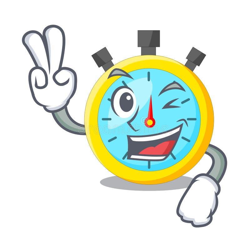 Cronômetro isolado dois dedos com no caráter ilustração do vetor