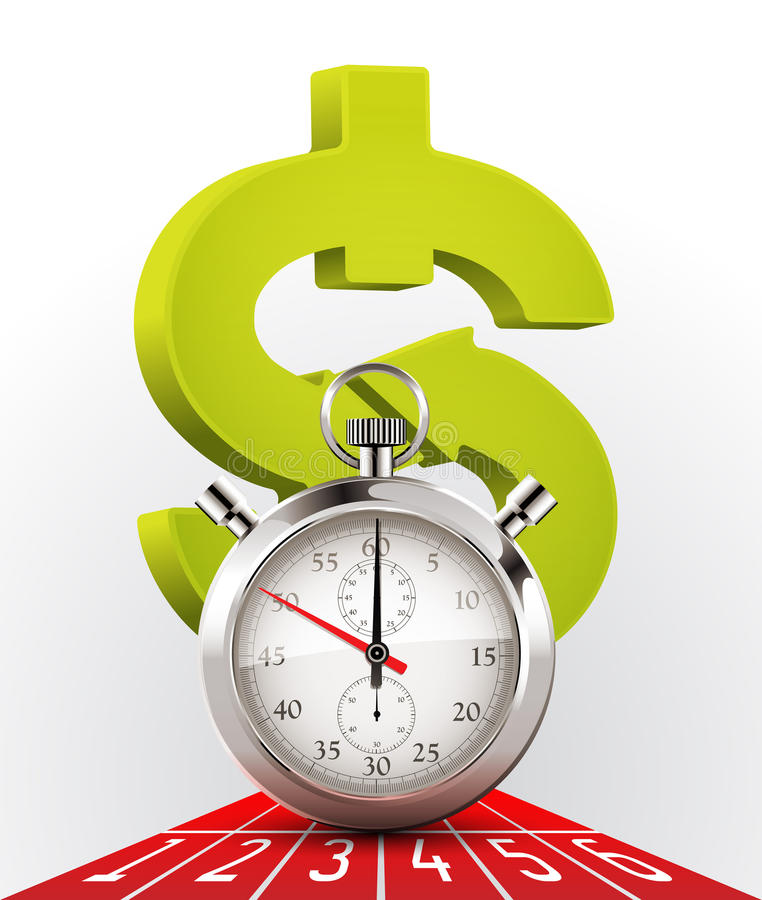Cronômetro - dinheiro e tempo ilustração stock