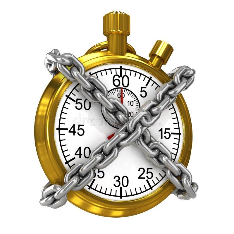 cronômetro do ouro 3d limitado por correntes ilustração stock