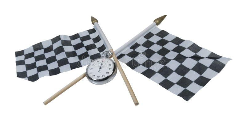 Cronômetro em bandeiras quadriculado foto de stock