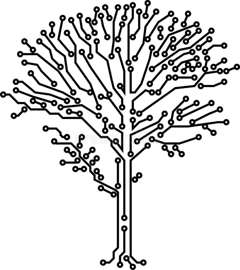 crone elektroniczny robić ścieżek drzewa wektor ilustracji