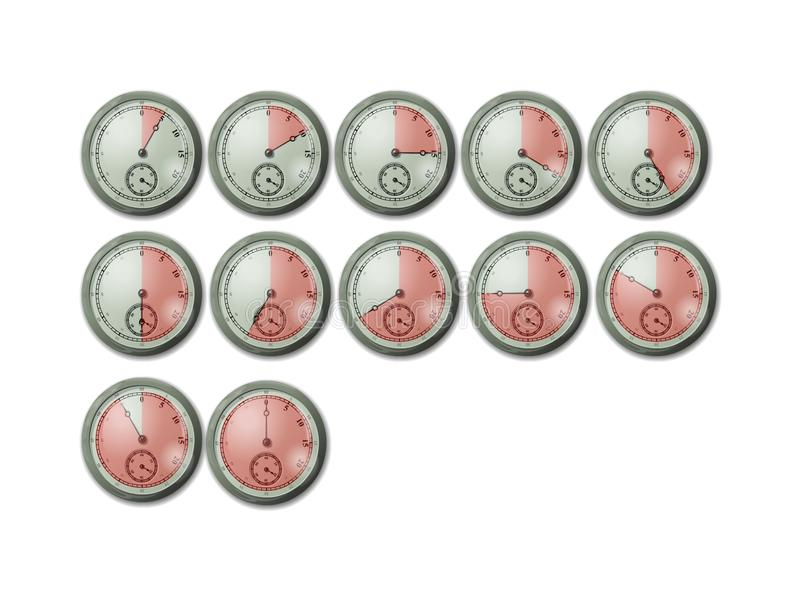 Crono orologi del cronometro del temporizzatore royalty illustrazione gratis