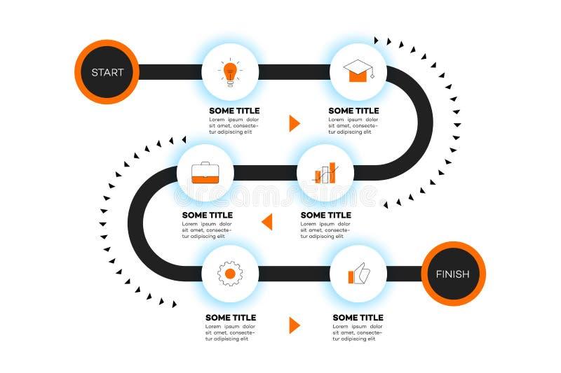 Cronología acodada de Infographic Mapa itinerario del vector, plantilla para la presentación moderna del negocio, informes anuale libre illustration