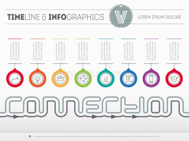 Cronología de Infographic sobre la conexión con ocho porciones Tiempo lin libre illustration