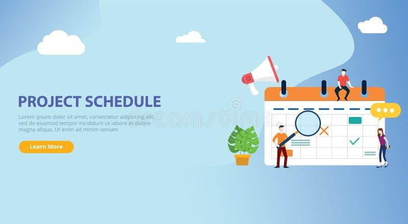 Cronología del calendario del horario de proyecto con el trabajo del equipo de la gente junto en la plantilla del ui de la página stock de ilustración