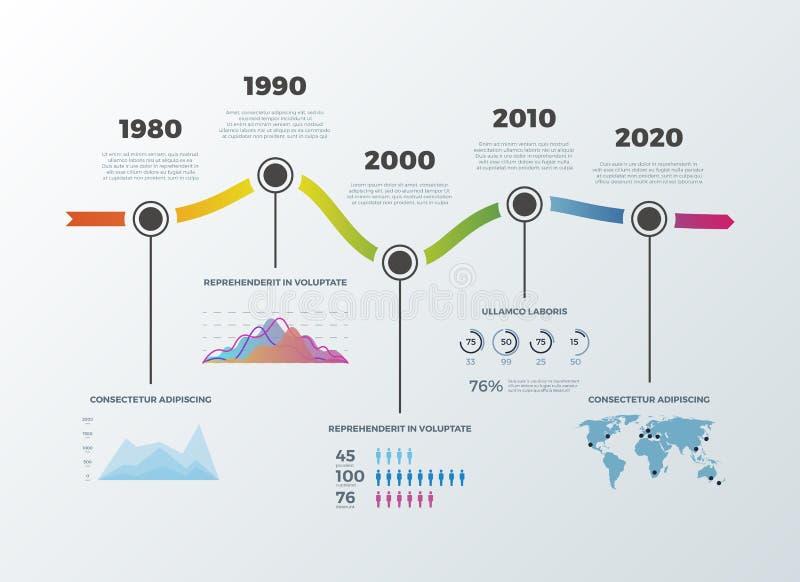 Cronología del camino infographic para las opciones del número del diagrama de la bandera de la disposición del flujo de trabajo stock de ilustración