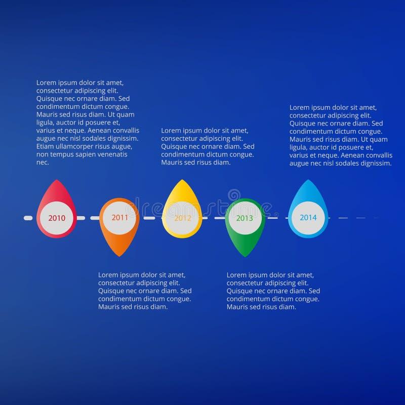 Cronología gráfica de la información con el texto en un fondo azul brillante libre illustration
