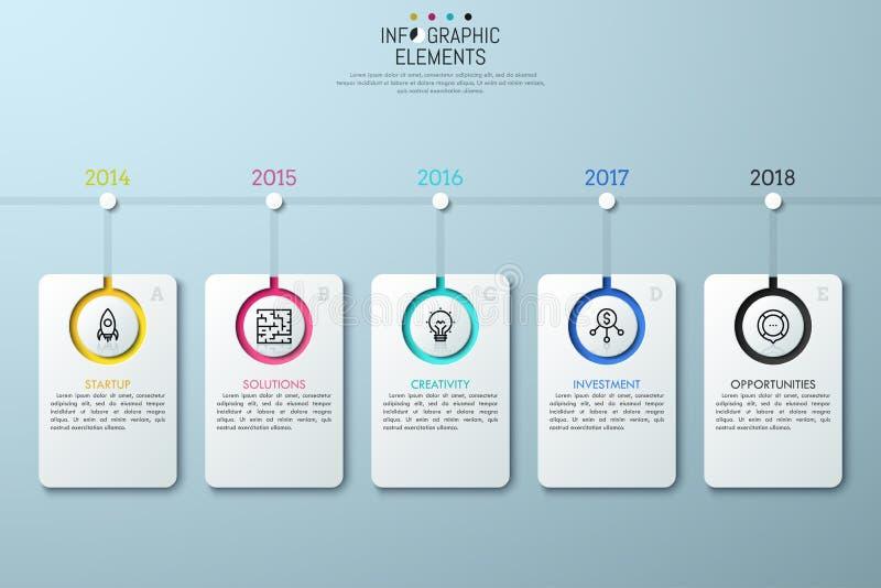 Cronología horizontal con la indicación del año stock de ilustración