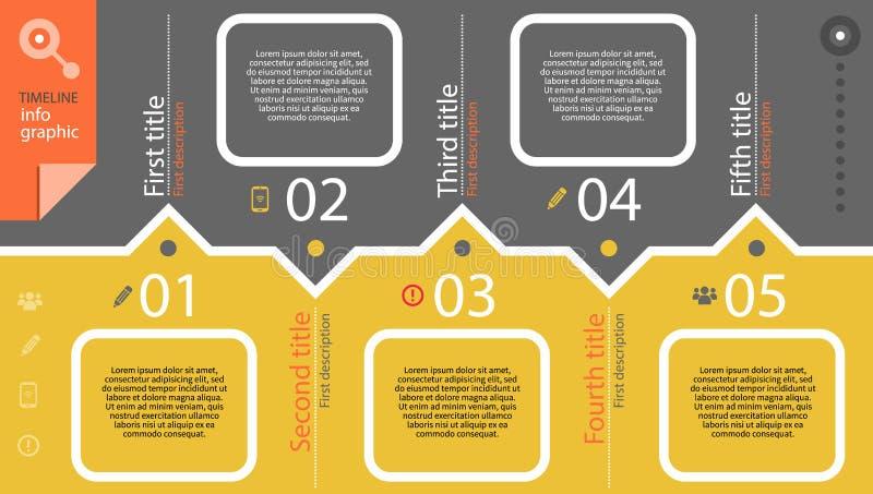 Cronología infographic con el diagrama y el texto stock de ilustración