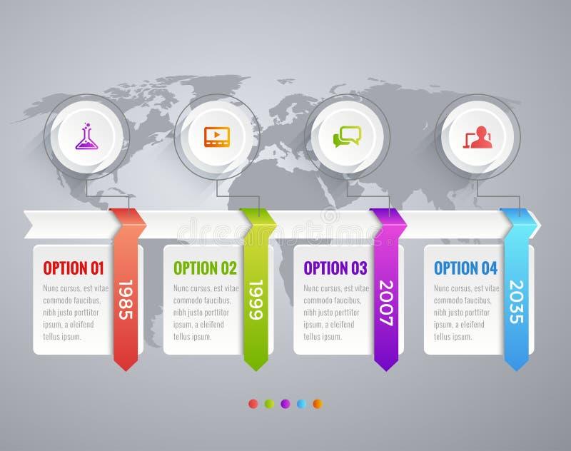 Cronología Infographic con los diagramas, las opciones de los datos y texto stock de ilustración