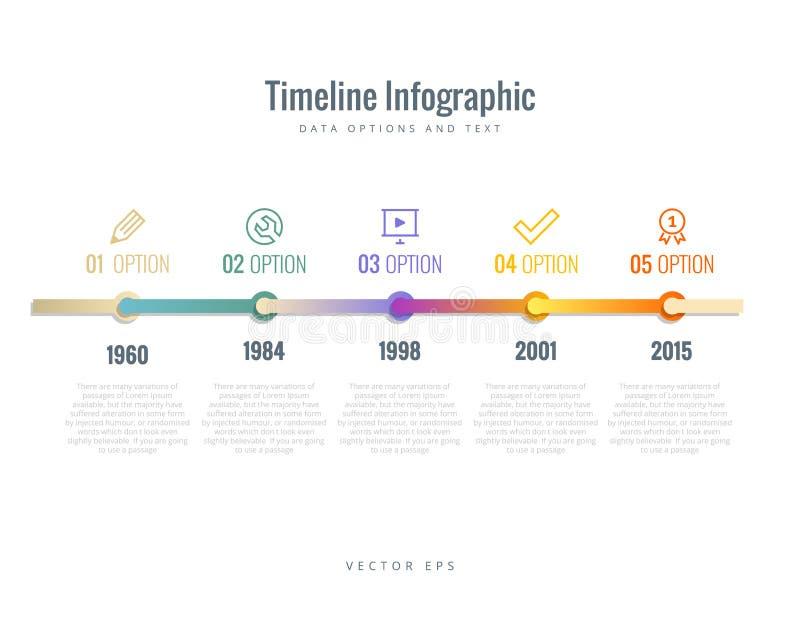 Cronología Infographic con los diagramas, las opciones y texto stock de ilustración