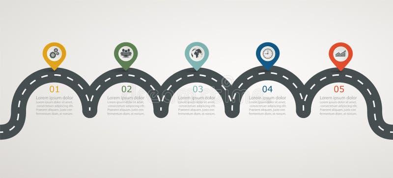 Cronología infographic con los iconos, estructura horizontal de manera gradual del camino ilustración del vector