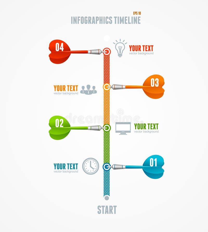 Cronología Infographic del vector y flecha del dardo ilustración del vector