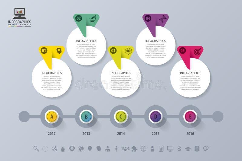 Cronología Infographic Modelo moderno del diseño del vector Ilustración del vector ilustración del vector