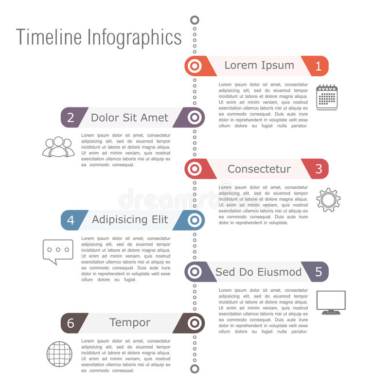 Cronología Infographics ilustración del vector