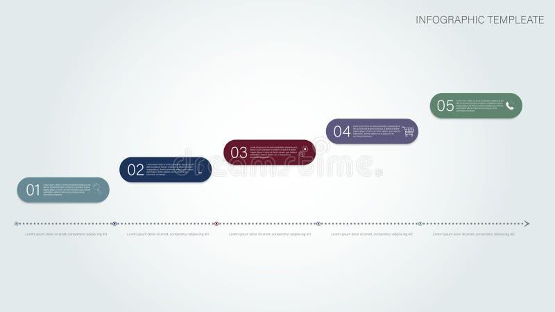 Cronología infogrfphic Cronología infogrfphic para el diseño del informe Disposición infographic del negocio Cronología plana inf stock de ilustración