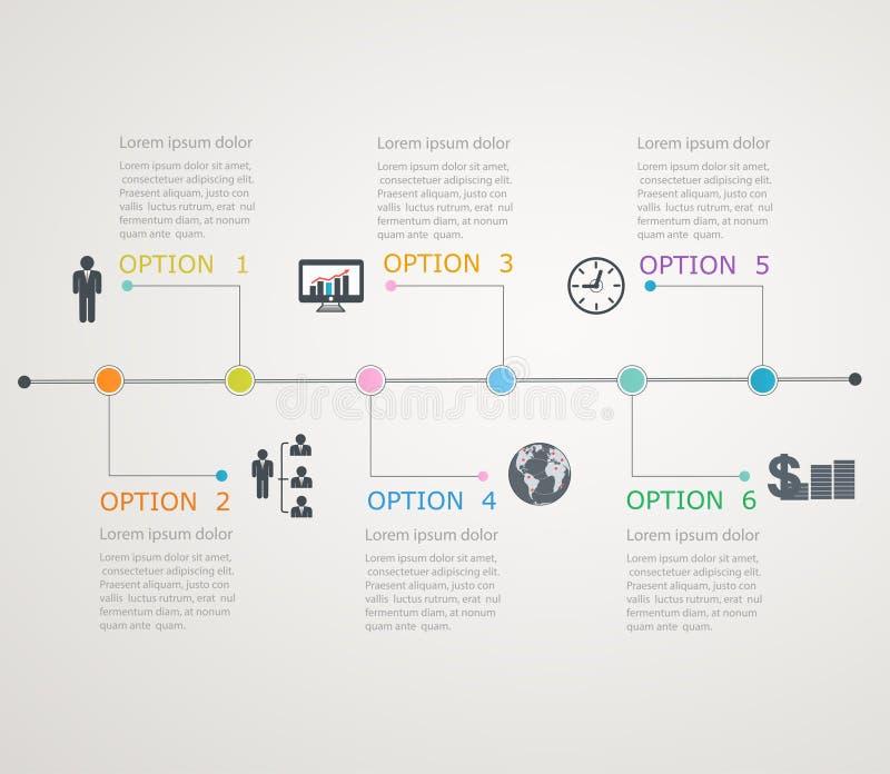 Cronología, plantilla del infographics con stru de manera gradual stock de ilustración