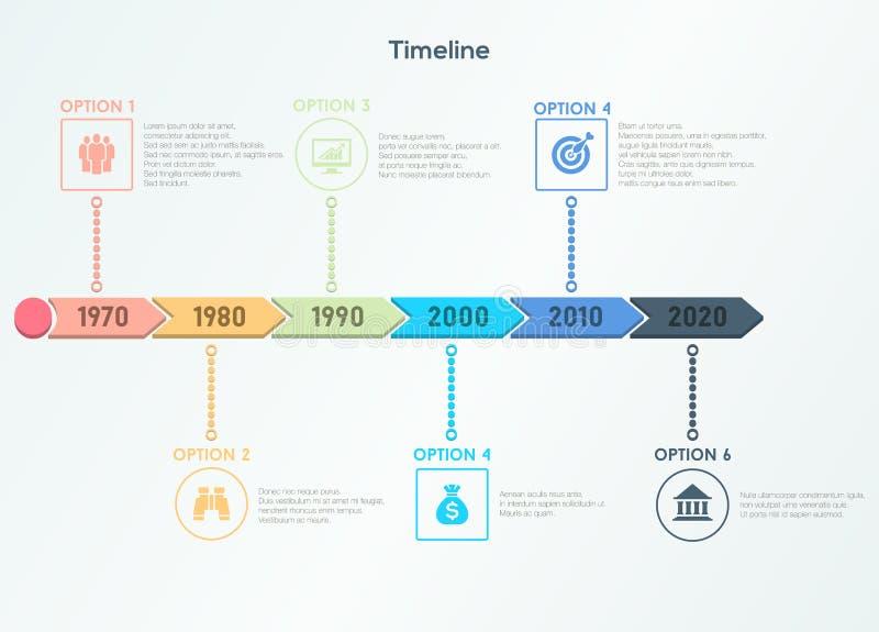 Cronología retra Infographic Plantilla de moda del diseño moderno ilustración del vector