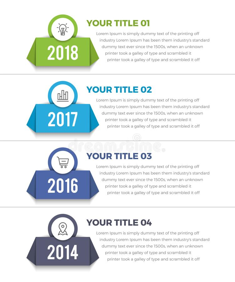 Cronología vertical Infographics stock de ilustración