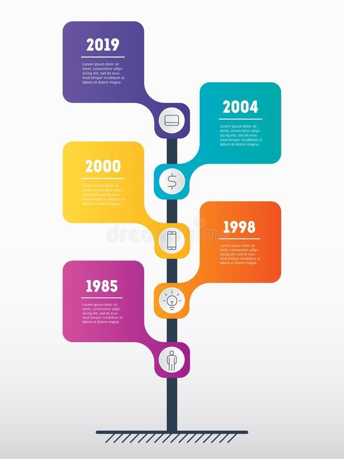 Cronología vertical Infographics Concepto del negocio con el processe 5 stock de ilustración