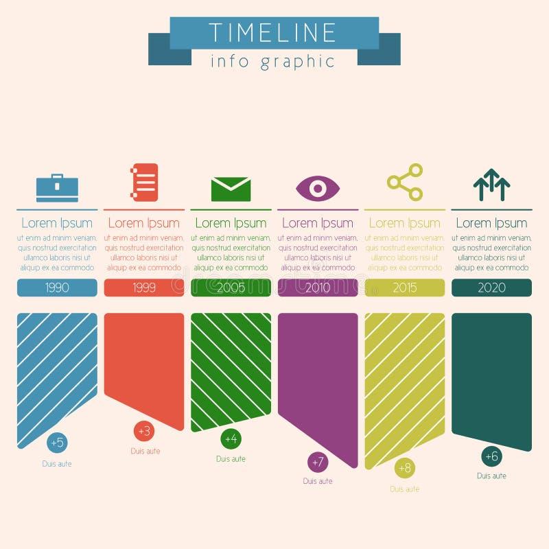 Cronologia con le icone e la crescita Visualizza l'intervallo di tempo ha etichettato illustrazione di stock