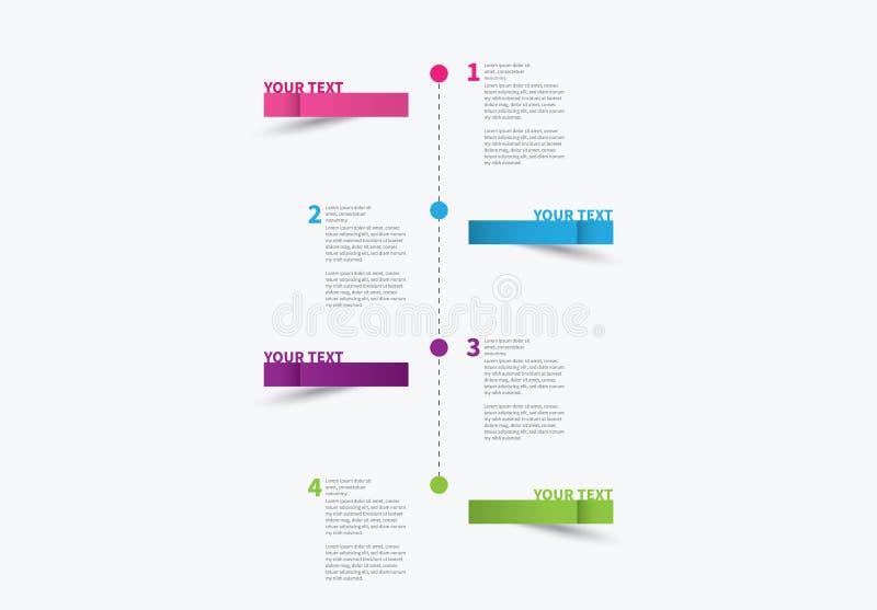 Cronologia di Infographic con 4 punti variopinti fotografie stock libere da diritti