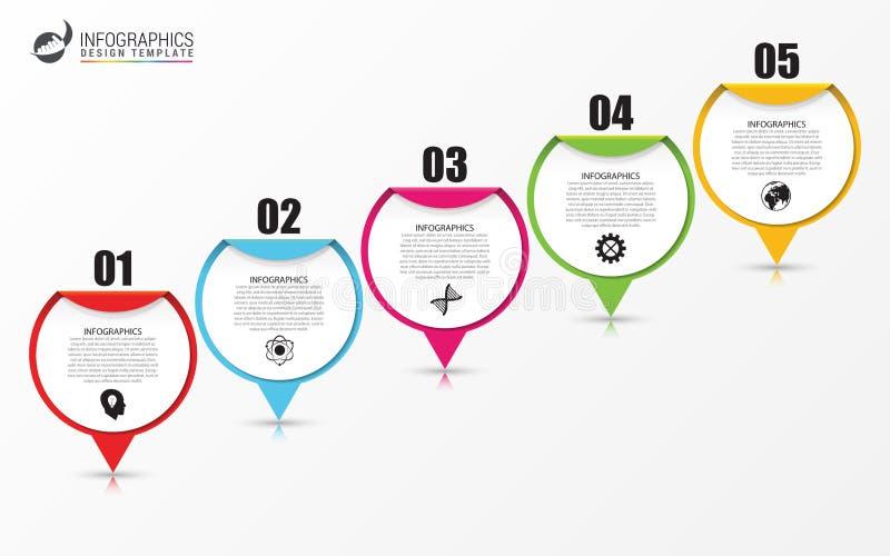 Cronologia Infographic con i puntatori Concetto di affari illustrazione di stock
