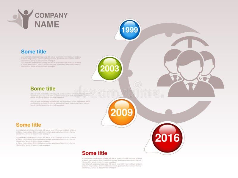Cronologia Modello di Infographic per la società Cronologia con le pietre miliari variopinte - blu, verde, arancio, rosso Puntato illustrazione vettoriale