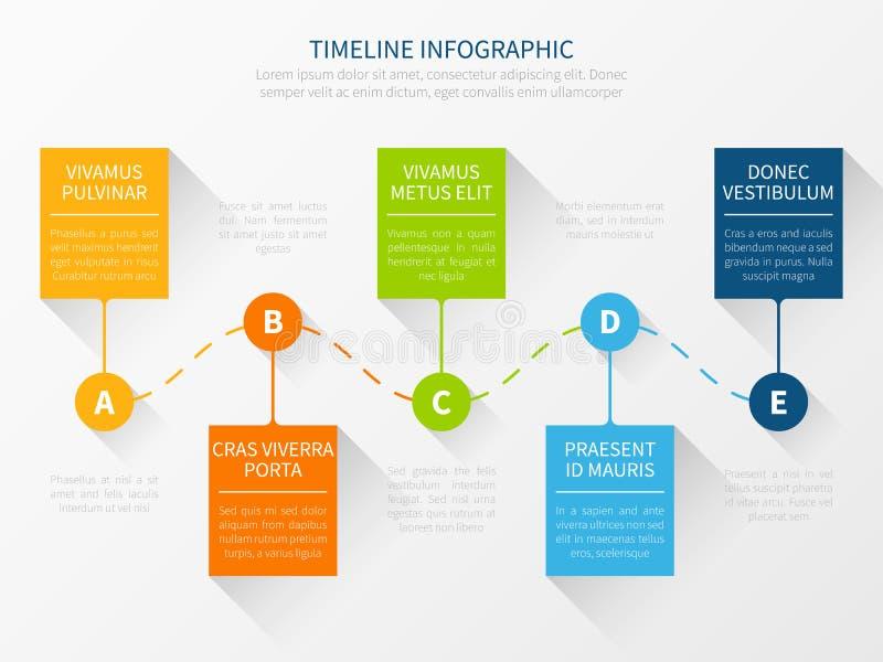 Cronologia moderna di vettore Concetto infographic del grafico di flusso di lavoro per la presentazione commercializzante illustrazione vettoriale