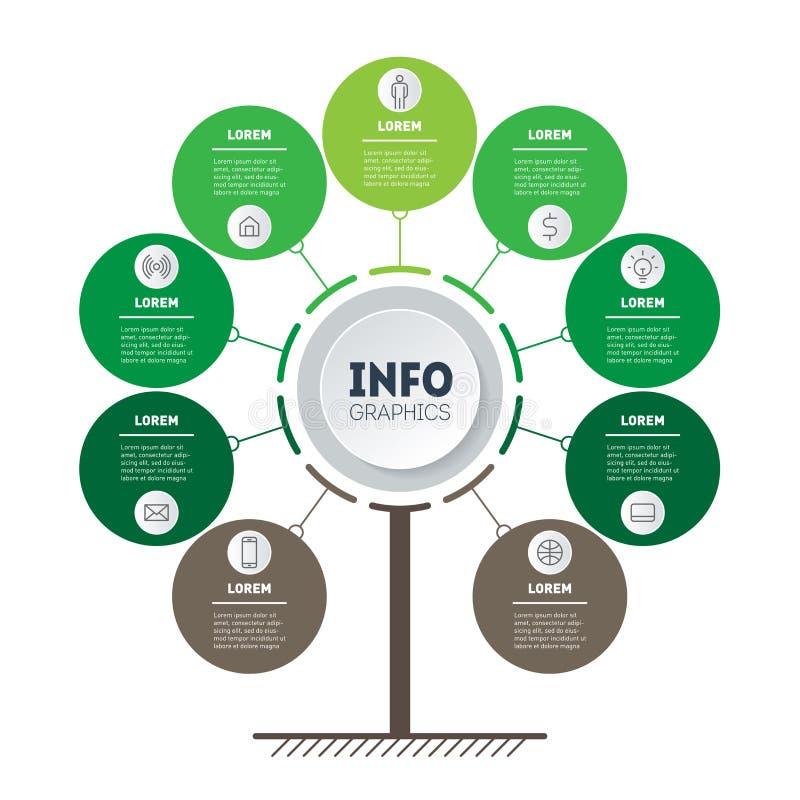 Cronologia verticale Infographics Albero di sviluppo e di crescita o illustrazione di stock