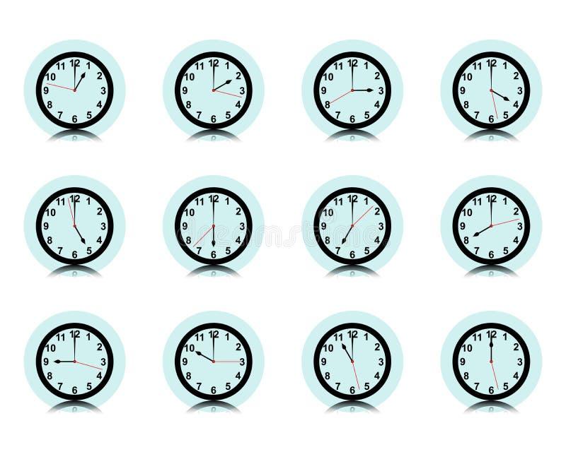 Cronometre a coleção da parede, grupo do ícone do temporizador, vetor ilustração royalty free
