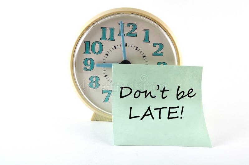 Cronometre com etiqueta Don que o `t esteja atrasado. Conceito geral ilustração royalty free