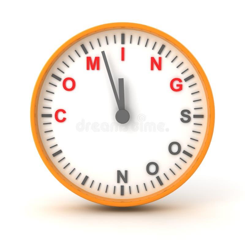 Cronometre com vinda logo o texto, 3d rendem ilustração royalty free